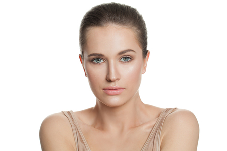 Perfect woman with clear skin isolated on white. Skincare and facial treatment concept