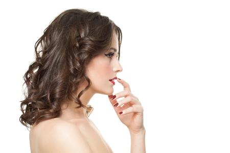 Beautiful woman isolated on white background. Female profile
