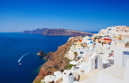 Santorini island. Beautiful Santorini landscape with caldera, Greece