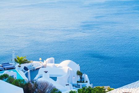 Romantic Santorini island. Island lovers, honeymoon and relaxation