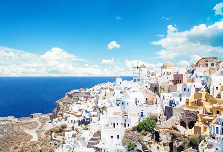 Greece, Santorini island. Beautiful Santorini landscape against sky clouds