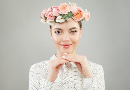 Beautiful cheerful woman in white shirt portrait