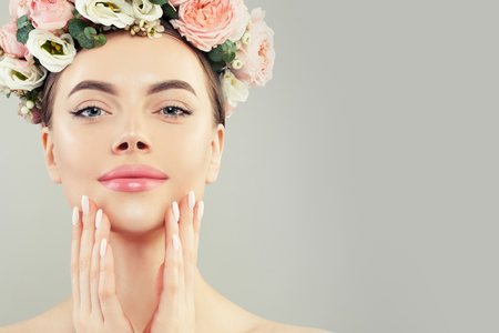 Pretty face. Healthy woman spa model with clear skin