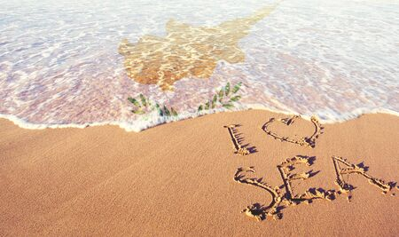 Beach sand, sea and flag Ciprus. I love Ciprus concept Banco de Imagens