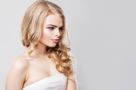 Fashion portrait of blonde woman with long hair and makeup Banco de Imagens