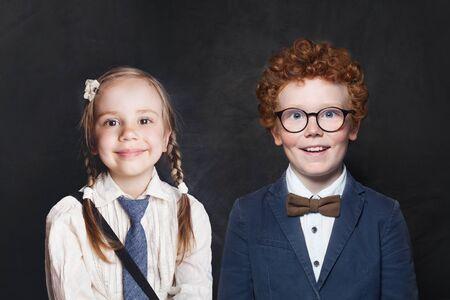 Happy kids boy and girl portrait