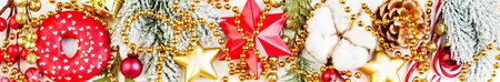 Christmas decorations closeup. Colorful border composition