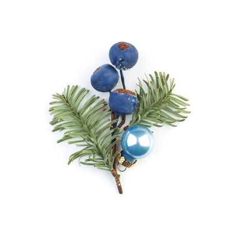 Christmas baubles, frozen winter blue berries and green fir branch on white background