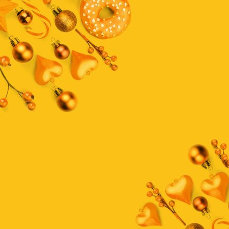 Yellow Christmas composition background with modern golden decoration