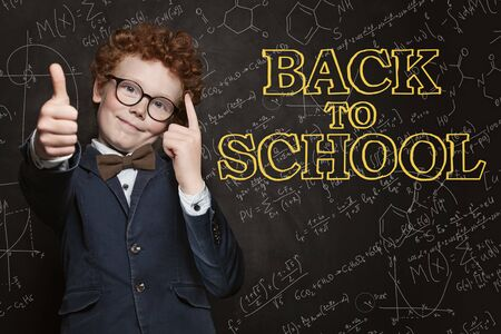 Young boy student having fun. Back to school concept Stock Photo