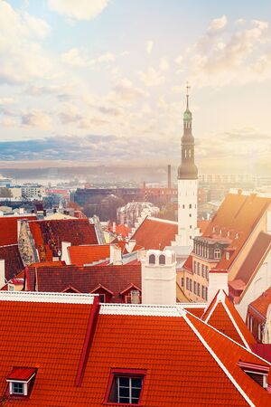 Tallinn. Estonia. City panorama with blue sky and clouds. Church Of The Holy Spirit, Lutheran Church and historical center of old Tallinn