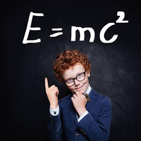 Successful young boy learning science Reklamní fotografie