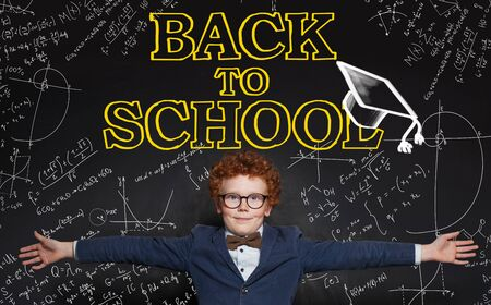 Happy kid and Back to school inscription