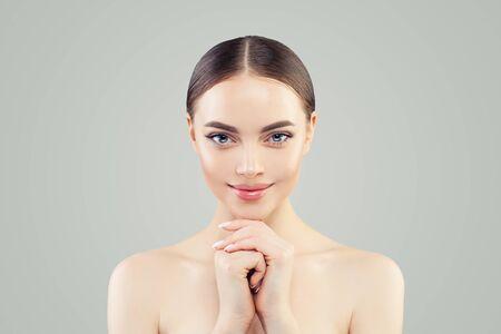 Happy spa woman portrait. Healthy model with clear skin