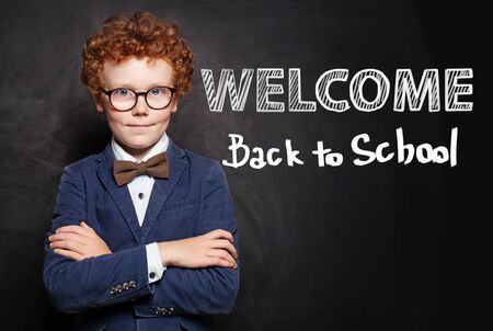Back to school welcome. Smart child student portrait