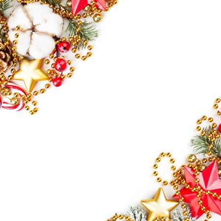 Colorful corners of Christmas decor on white background