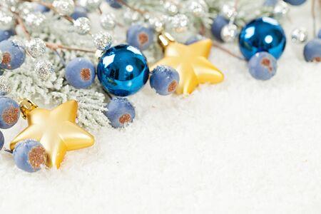 Christmas decoration on white snow background