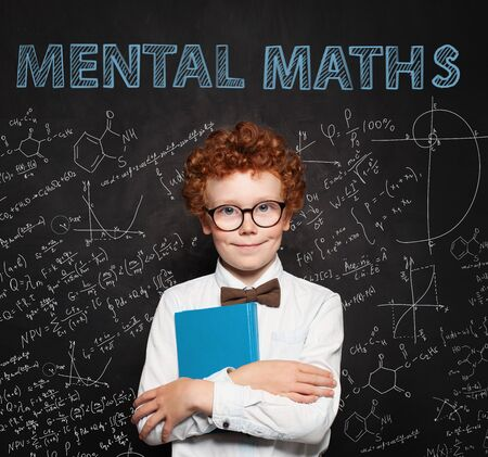 Curious child on school chalkboard background. Mental maths and early development concept