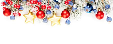 Christmas banner background. Xmas border composition with Christmas tree branch, red holly berries and gold garland isolated on white background