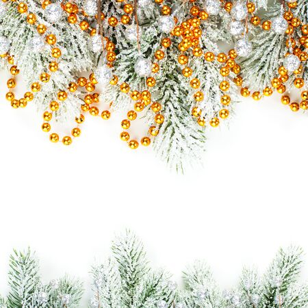 Merry Christmas card. Xmas composition border with winter fir branches, silver berries and gold garland isolated on white background