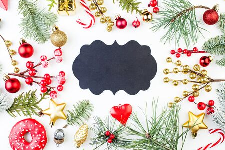 Christmas frame with black background with copy space. Xmas flat lay top view