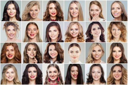 Verschiedene Frauen stehen Collage gegenüber. Frauengesichter lächelnd und lachend, positive Emotionen, emotionaler Ausdruck Standard-Bild