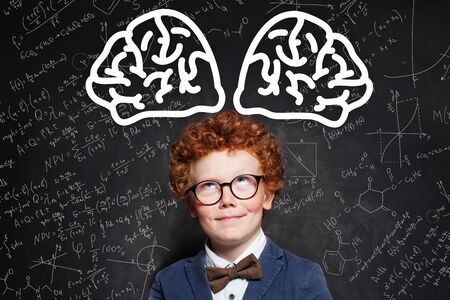 Little boy pupil in glasses with brain scetch on blackboard background