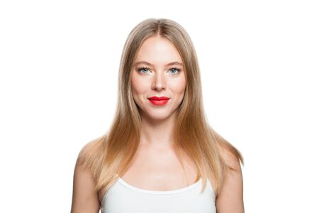 Pretty woman with blonde hairstyle isolated on white background. Healthy model isolated portrait