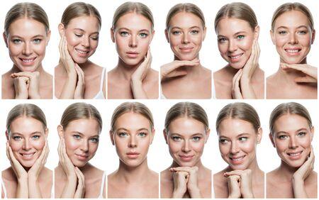 Emotional women faces collage. Beautiful smiling woman portraits set, positive emotions