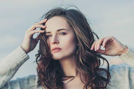 Beautiful woman face, close up outdoor portrait