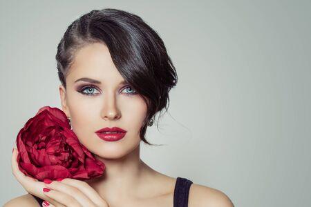Elegant brunette woman, beautiful face close up portrait