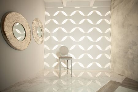 Stylish interior with vintage chair, marble tiles floor and gray stucco wall 版權商用圖片