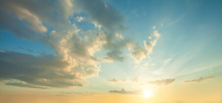 Sky clouds background. Beautiful blue sky clouds, clouds and sun on sky