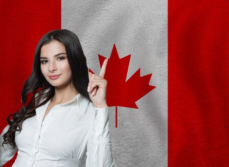 banner with flag Canada. Travel and learn english or franch language 版權商用圖片
