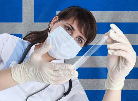 Scientist woman with test tube Coronavirus or COVID-19 against Greece flag. Research of viruses in laboratory for prevention of a pandemic in Greece