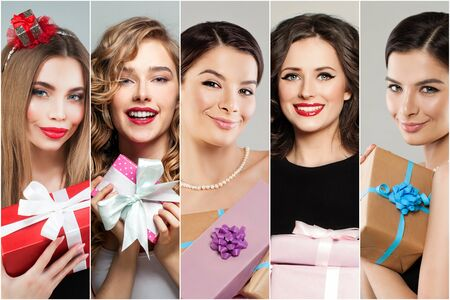 Pretty women with gifts present. Many female faces, fashion portraits collage set