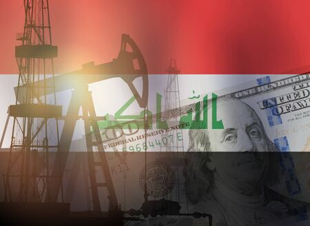 Pump jack, US dollar notes and Iraq flag background. Crude oil and petroleum concept Imagens
