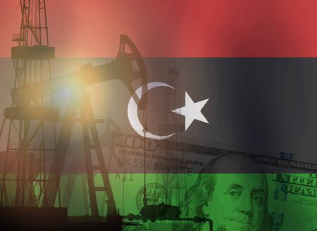 Crude oil and petroleum concept. Pump jack, US dollar notes and Libya flag background