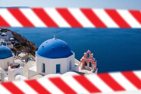Greek Santorini with warning tape