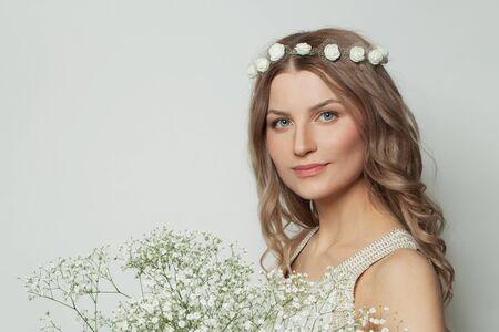 Portrait of perfect woman on white background Stockfoto