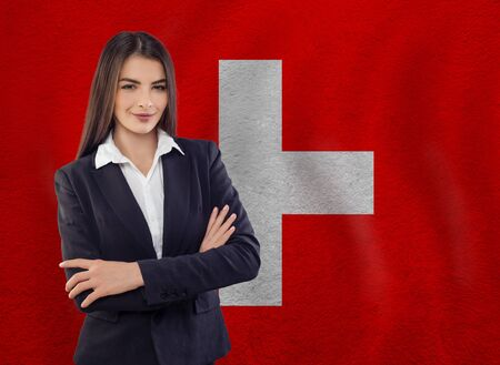 Young woman ready for business or learn language Stock Photo