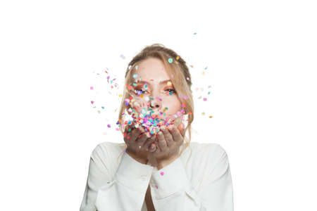 Woman and colorful falling confetti isolated on white background