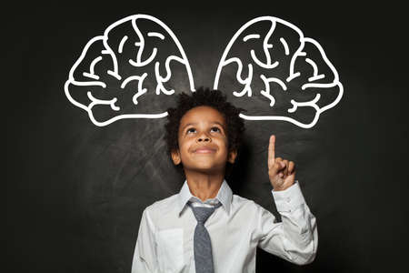 Handsome student child pointing at big brain, brainstorming concept