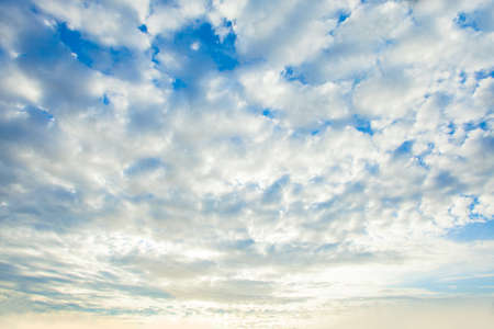 Dawn sky clouds background. Beautiful landscape with clouds and blue sky