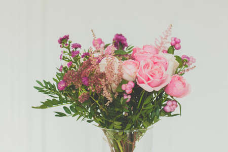 Pink rose flowers bouquet on white background 写真素材