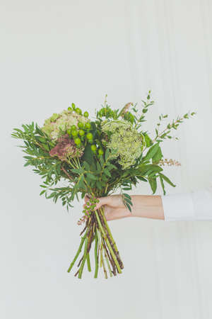 Green flowers and grass in female hand on white background