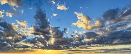 Sunset sun, sky and cloud, skyline background