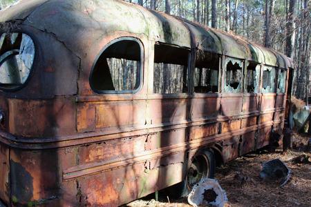Old School Bus in Junkyard