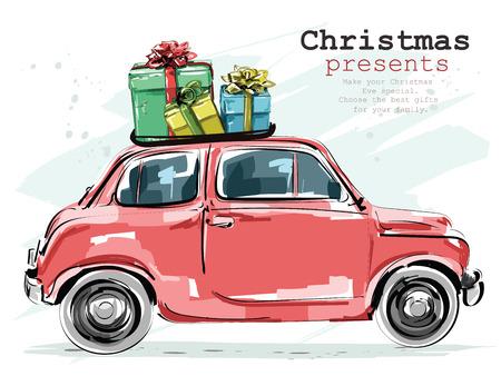 Stylish retro car with Christmas presents 일러스트