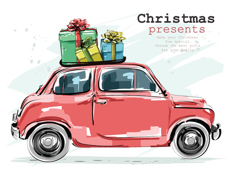 Stylish retro car with Christmas presents Vectores